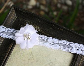 White lace hair band, white lace baby headband, lace newborn headband, infant headband, baptism headband, christening headband, white lace