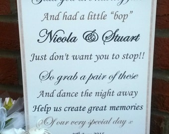 A4 Personalised Flip flop sandals tired dancing feet Vintage Style Wedding Sign  - ANY colour butterflies