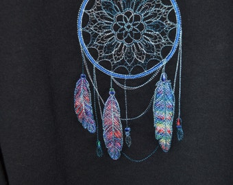 Hoodie Pullover Sweatshirt with Embroidered Dream Catcher