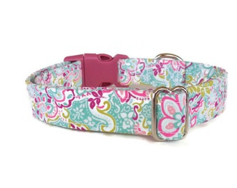 Pre-Made/Ready-to-Ship Feminine Pink Paisley & Floral Girl Dog Collar - Adjustable - (Buckle)