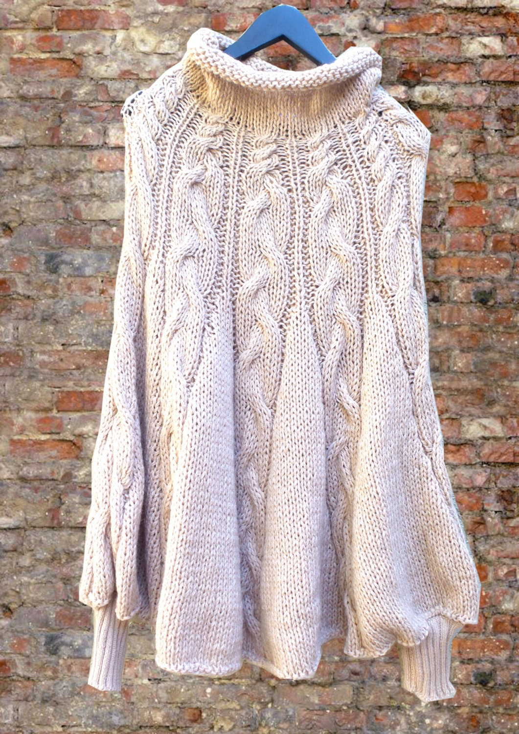 Alpaca Poncho Knitting Pattern : Hand knitted Cable Poncho Alpaca Blend Beige Sand Wrap Sweater