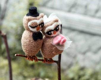 Felted Wedding Cake Topper - Owls