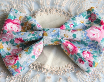 Floral Fabric Hair Bows with Slides