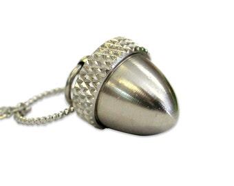 Silver Acorn Necklace Locket, Acorn Stainless Steel, Necklace Cremation Necklace Ash Locket Ashes Pendant Mourning  Acorn Nut Keychain 2010