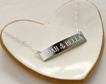 Mommy Bar Necklace - Sterling Silver Bar Necklace - Mommy Necklace - Love Necklace - Bridesmaid Gift
