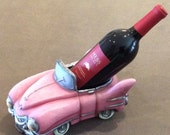Pink Cadillac Wine Bottle holder, whimsical stylized pink Cadillac display decor, great for a 50's theme or Man Cave or Caddy collector