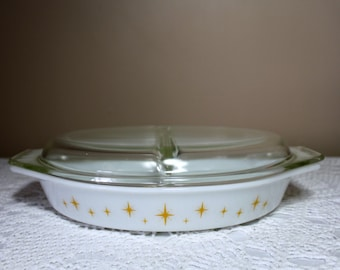 Vintage Pyrex Constellation Divided Casserole with Lid