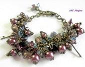 Victorian Beaded Bracelet,Marsala Charm Bracelet,Victorian Jewelry,Edwardian Jewelry,Downton Abbey