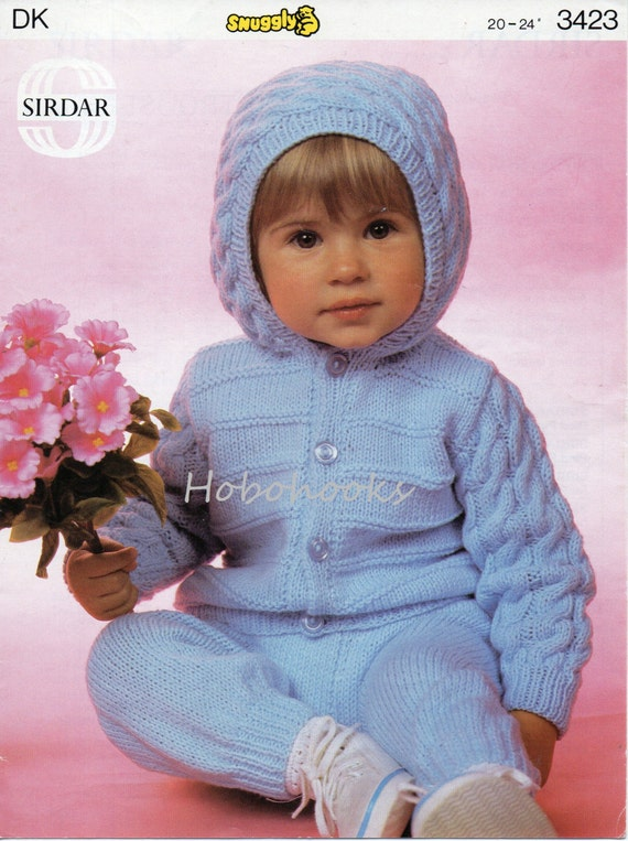 Knitting Pattern Hooded Jacket Toddler : Baby Knitting Patterns Baby Hooded Jacket & Trousers Toddler
