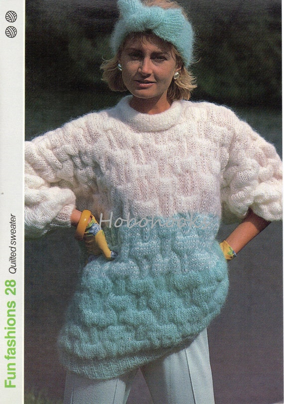 Knitting Pattern Mohair Jumper : womens mohair sweater knitting pattern PDF ladies patterned