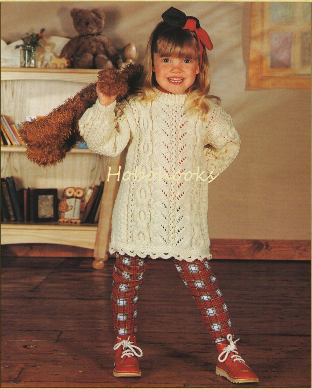 Knitting Pattern For Childs Aran Dress : Girls Knitting Pattern girls aran dress baby dress childs