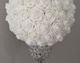 WEDDING CENTERPIECE, White Kissing Ball, Flower Ball, Wedding Decor, Flower Girl