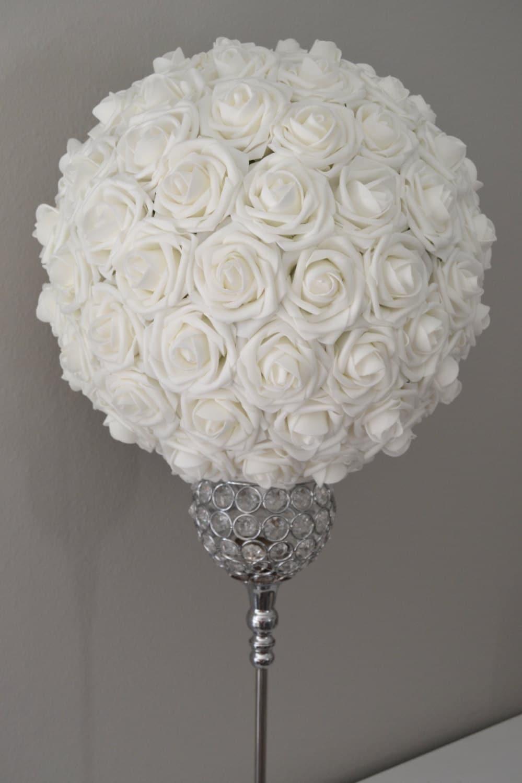 White flower ball kissing pomander wedding