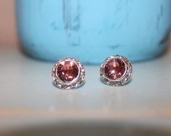 Rose Peach Crystal Post Earrings 13mm Chaton