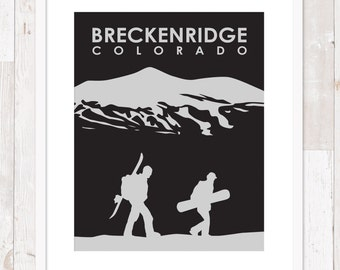 Breckenridge, Colorado Snowboarders ~ Art Print ~ Many Sizes Available ~ Many Colors Available
