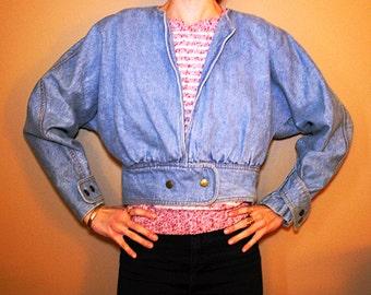 """Valley Girl Denim Jacket. 1980's Dolman Sleeve, Collar-Less Jacket. """"Please... Thank You"""""""