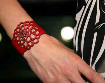 Dahlia flower leather cuff bracelet.  Laser cut leather bracelet. Flower bracelet