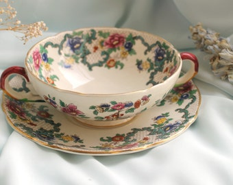 Vintage Soup Bowl 'Victoria' by Royal Cauldon complete with saucer- 1950's Crockery