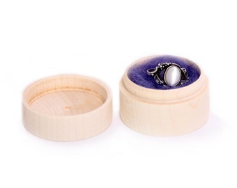 small round wooden box, unfinished wooden ring earrings box, jewelry storage, shabby, rustic, engagement wedding ring pill box, eco gift box