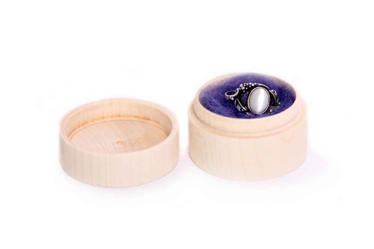 Set Of 6 Small Round Wooden Box, Unfinished Wooden Ring Earrings Box,  Jewelry Storage, Shabby, Rustic, Engagement Wedding Ring Pill Box