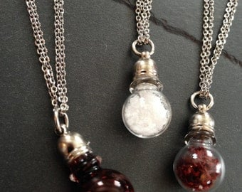 Mini Glass Bottle Potion Vial Pendant Necklace on Stainless Steel Chain--Fake Blood // Salt // Saffron--WICCAN