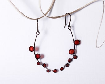 Dangle Earrings. Copper wire. Transparent. Wire wrapped Jewelry. Red Autumn Branches.