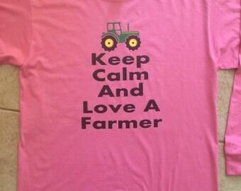 Vinyl Keep Calm and Love A Farmer Long Sleeve Shirt With Tractor