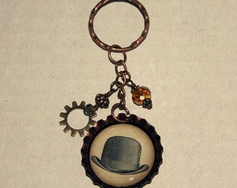 Beaded Bottlecap Keychain - Bowler