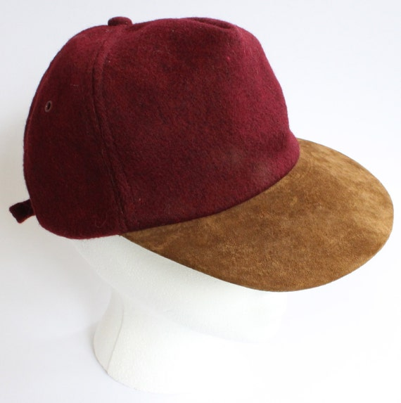 Vintage Broner Maroon Flatbill Hat 1970's One Size