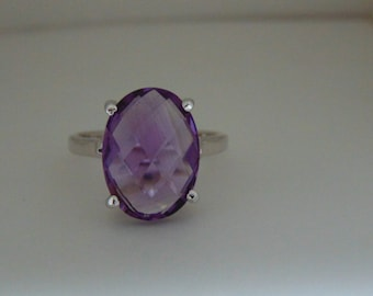 AAA quality natural 10.03 carat checker board african amethyst ring in 925 sterling silver