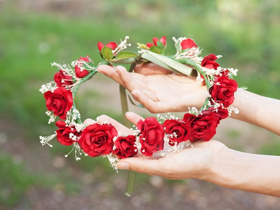 Corona de rosas rojas corona de flores rojas diadema tiara de rosas rojas rojo rosa corona