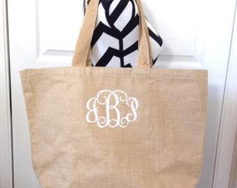 Set of Three Monogrammed Burlap Tote Bag, Personalized Jute Tote, Bridesmaid Gifts, Mothers Day Gifts, Monogrammed Gifts