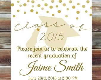 Gold Graduation Open House Invitation - Custom Graduation Party Invitation - Champagne Gold Grad Party Invite - College High School Grad