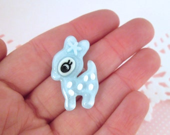 Multicolor Glittery Kawaii Deer Cabochons, Cute Animal Cabs