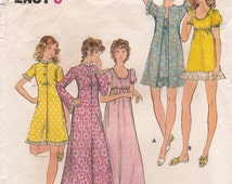 Nightgown and Robe Long or Short Nightgown and Long or Short Robe House Robe Bath Robe Vintage Butterick Sewing Pattern 6589 Misses' Size 14
