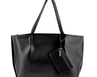 Huge Leather Shopper Minimalistic Style Black Color
