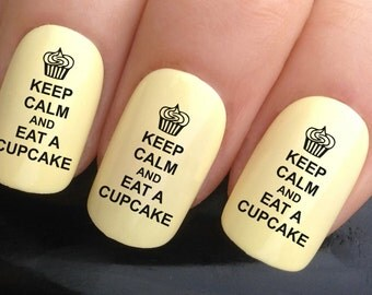 nail decals #346 keep calm & eat a cupcake funny weight loss water transfers stickers manicure art set x24
