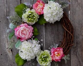 spring wreaths summer wreath hydrangea peony door wreath front door wreath spring