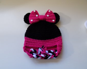 Minnie Mouse Inspired Hat-Baby 3-6 mos.