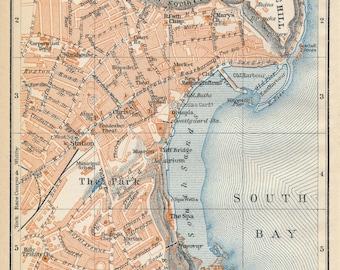 1910 Scarborough United Kingdom (Great Britain) Antique map