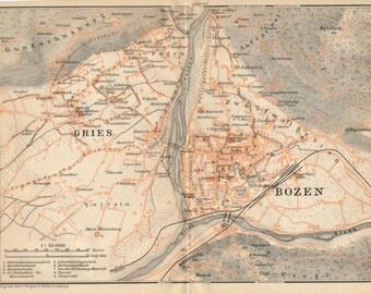 1905 Bolzano (Bozen) Italy Antique Map