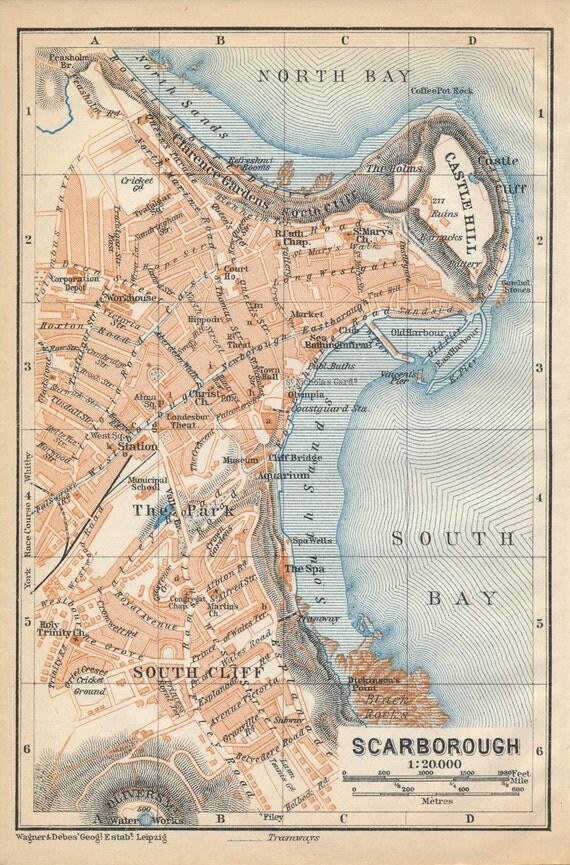 1910 Scarborough United Kingdom Great Britain Antique map