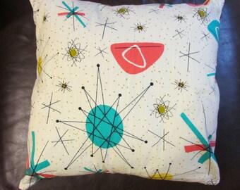 1950s vintage atomic-style fabric cushion