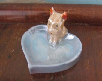 Vintage Japan lustreware blue heart/spade-shaped pin/ashtray, terrier dog detail