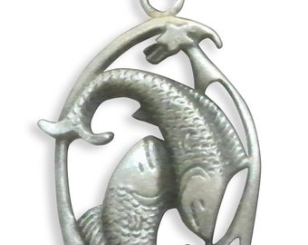 Pisces Zodiac Sign February 19 - March 20 Astrology Pewter Pendant Necklace NK-PISC
