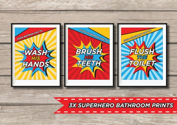 50 off 3x superhero bathroom wall art by redapplestudio for Spiderman bathroom ideas