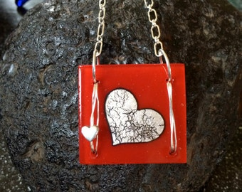 Fused in Glass Silver Foil Heart and Sterling Silver Necklace 3