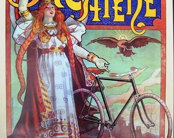 Vintage art print poster litho NOS Velleda A Catene Paris bicycle opera singer Viking copyright 1976