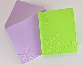 Butterfly Envelopes Handmade Embossed Butterfly Cards A2 Spring Card Set Embossed Envelope Pastel Blank Card Green Pink Yellow Lavender Blue
