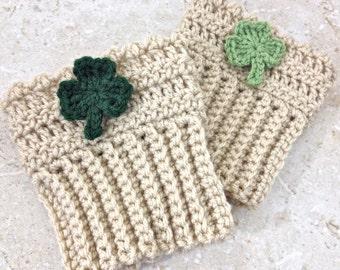 St. Patrick's Day Shamrock Book Cuffs Handmade Knit Crochet Boot Topper Tan Leg Warmer Boot Sock Custom Size Women Green Accessories Irish